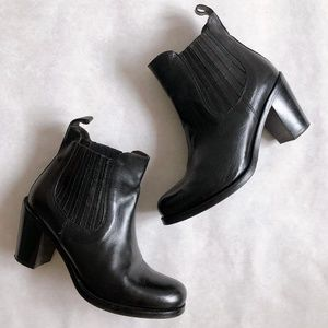 Italian Black Leather Heeled Chelsea Ankle Boots